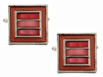 Dalaco 90-1238 Pink 3 Squares Cats Eye Cufflinks